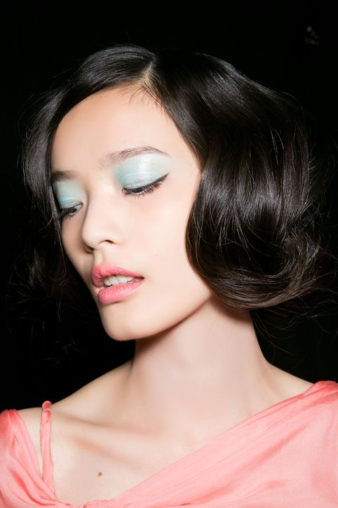 Pale blue eyeshadow is girly yet sophisticated. Make this look fresh by keeping the rest of the face and lips natural.
