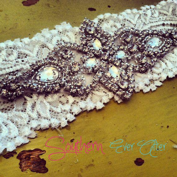Vintage Inspired Rhinestone Wedding garter / by SouthernEverAfter, $32.99