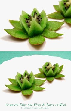 Kiwi Fruit Flower  - they look like water lilies, so pretty! These would make cute party food!