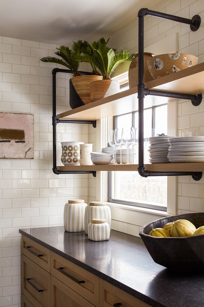 iron piping shelves (+ a white subway tile backsplash!)