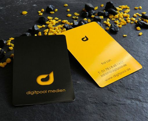 Custom Business Card - Custom Business Card by Kai Loh from Digitpool Medien, jet black front with a bright yellow back. Rounded to give it a nice modern edge to it…
