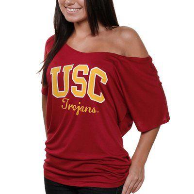 USC Trojans Women's Team Name Off-The-Shoulder T-Shirt - Cardinal