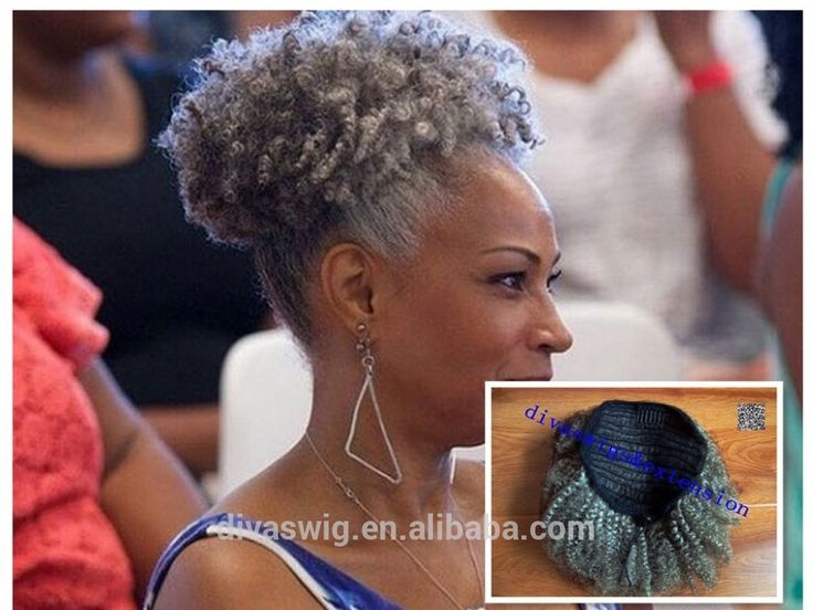 100% real hair gray puff kinky ponytail hair extension clip in Remy afro kinky curly drawstring ponytails grey hair piece 120g