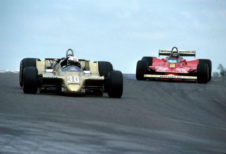 Jochen Mass, Dijon Prenois 1979, Arrows A2... and Gilles Villeneuve (Ferrari 312 T4)  about to take over...