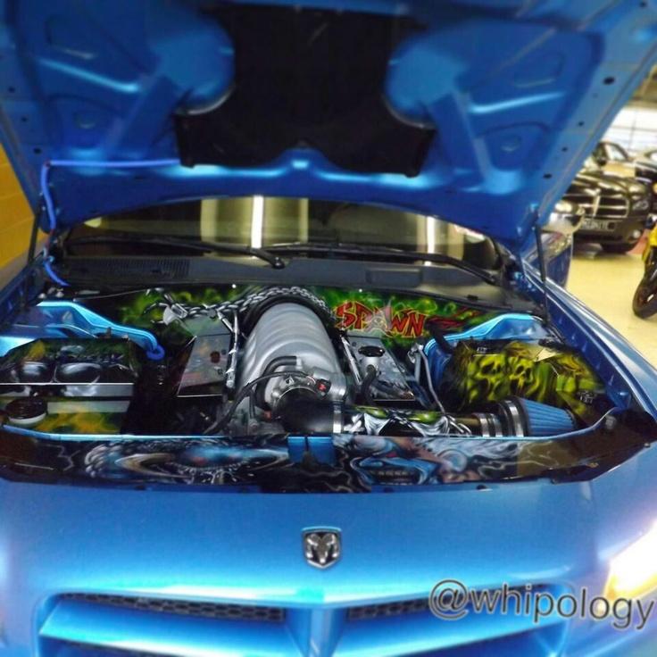 Airbrushed car engine