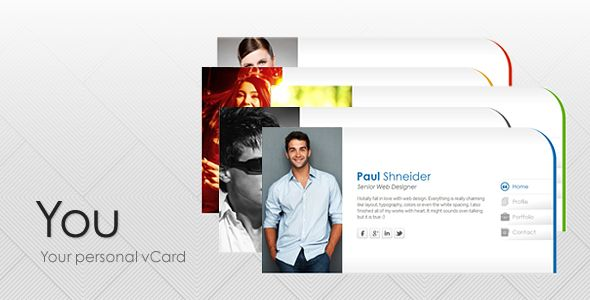 You - Personal vCard Template   http://themeforest.net/item/you-personal-vcard-template/2611846?ref=damiamio       You is a personal vCard template that was created with the concept of formally clean and simple to use. In addition, it also comes with a neat style plus 4 color presets and 5 backgrounds for you to customize. You can use this template for your own online personal or business profile and I hope you would enjoy using this template.      Need Support? In case you need the…