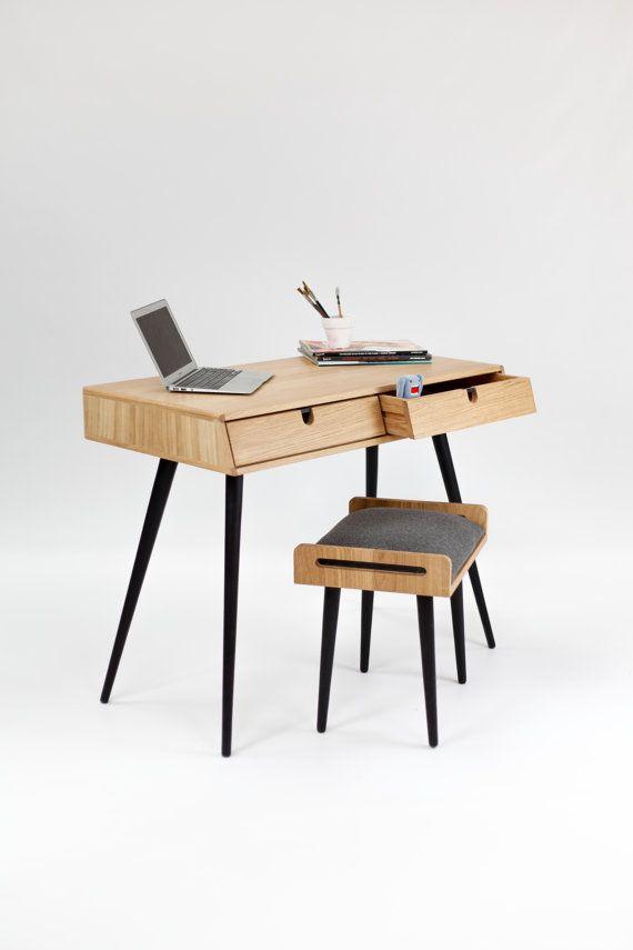 Desk in oak wood Mid Century Modern Tantik by Habitables on Etsy