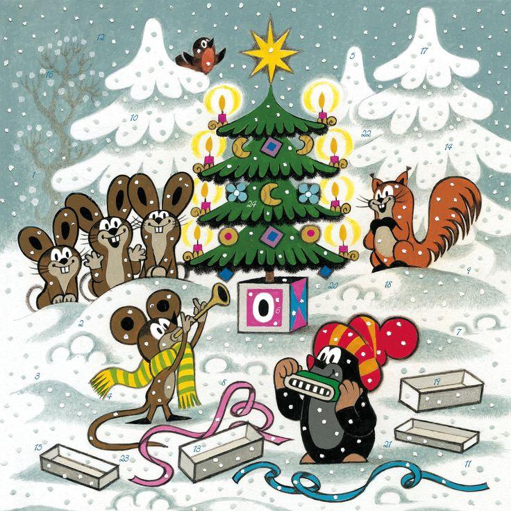 (2015-02) Muldvarpen og musen spiller musik foran juletræet, mens harerne og egernet lytter