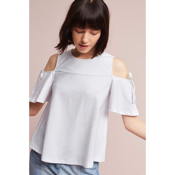 Eri + Ali Rosina Open-Shoulder Top featuring polyvore women's fashion clothing tops white open shoulder top cut-out shoulder tops white open shoulder top cut shoulder tops white cut out shoulder top