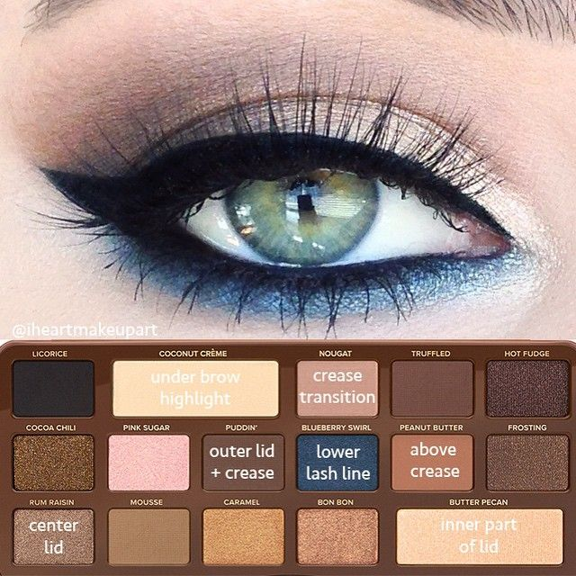 """""""first look using the @toofaced semi sweet chocolate bar palette. I just keep sniffing it haha hope this little pictorial helps! This would look great on brown eyes. Liner is @eyeko eye do liner. Have a great weekend! xo"""" --@iheartmakeupart"""