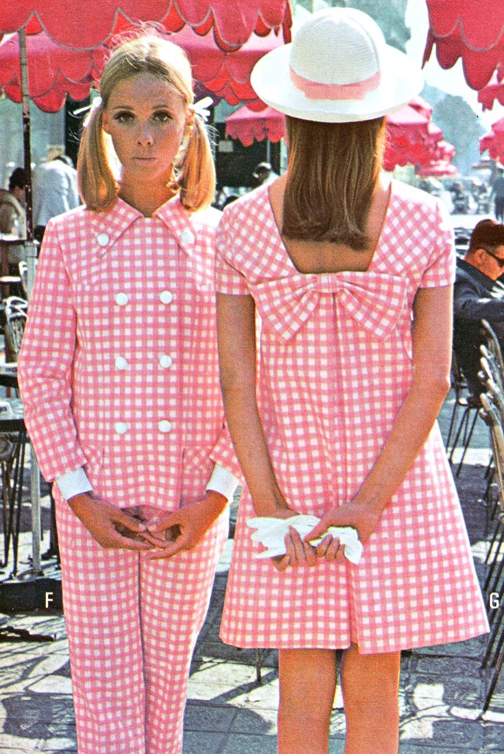 Pink gingham fashions, 1967. I remember the gingham phase. I had a blue gingham empire waisted dress!