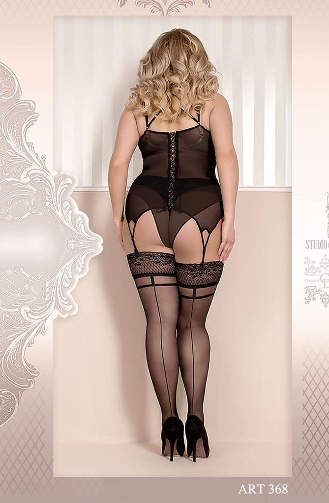 Ballerina Plus Size Hold Up Stockings 368 (Black) is an elegant  plus size hold ups in nero / black with a beautifully embroidered lace band at the top of the leg.  Other Information  - Made in Europe - 82% Nylon, 18% Elastane - Presented in Ballerina Hosiery branded packaging