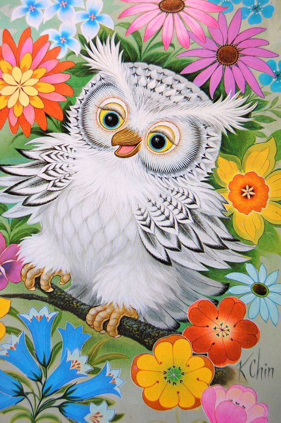 K Chin Lithograph White OWL Art Print Poster by VintagePaperology,