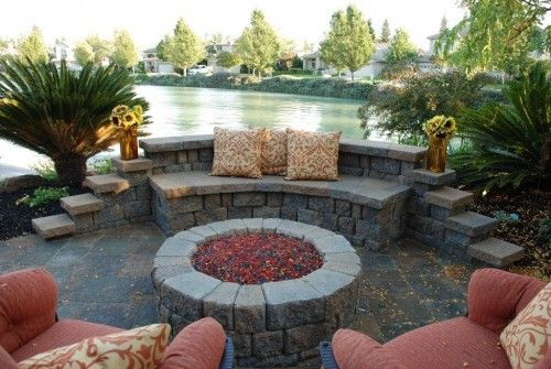 fire pit brick work: Pools Area, Patio Design, Contemporary Patio, Outdoor Fire Pit, Backyard Fire Pit, Fire Pit Design, Firepit, Outdoor Spaces, Wall Design