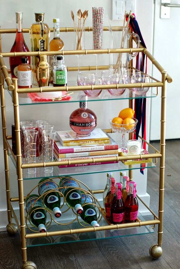 A Bar Cart in Brooklyn- a very pretty one at that/ girly/ brass and glass/ pink/