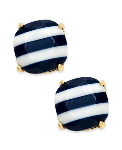 "Get your nautical on with these smart sailor-inspired striped stud earrings designed by kate spade new york and set in 14k gold-plated metal. Approximate diameter: 1/2"". 