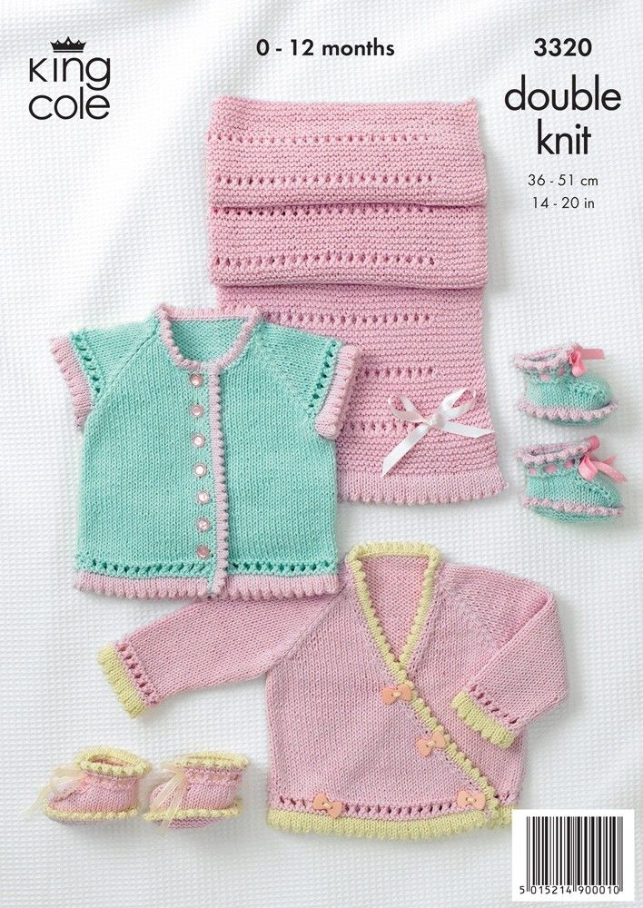 Baby Cardigans, Shoes and Pram Cover in King Cole Bamboo Cotton DK - 3320 Cute top for a summer baby