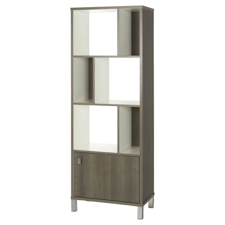 South Shore, Expoz 6 - Cube Shelving Unit with Door - Gray Maple and Pure White , Ash Wood