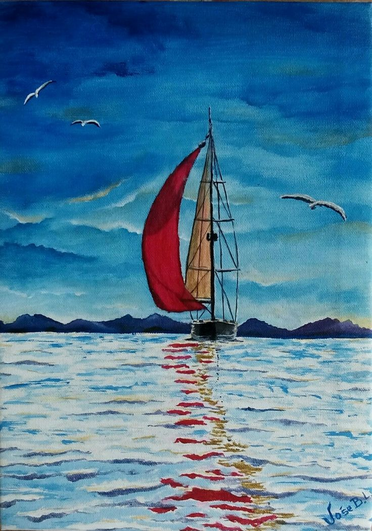"""Sailing "" Acrylic on canvas 30x22 cm Author: José B.L."