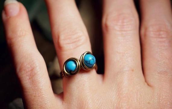 Ring Twin Silberdraht Türkis Ethno Draht von BySARUTEJewellery