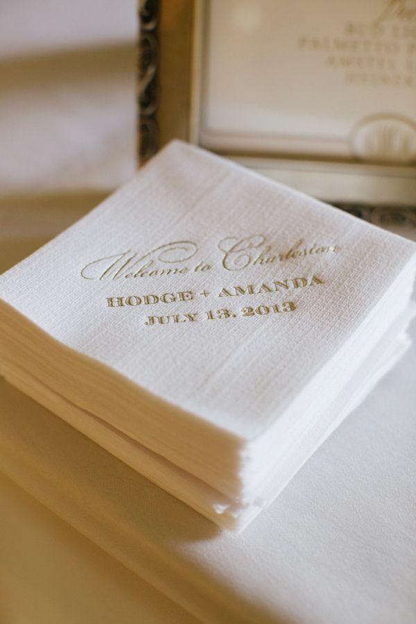 Elegant gold and white cocktail napkins, photo by Paige Winn Photo    via junebugweddings.com