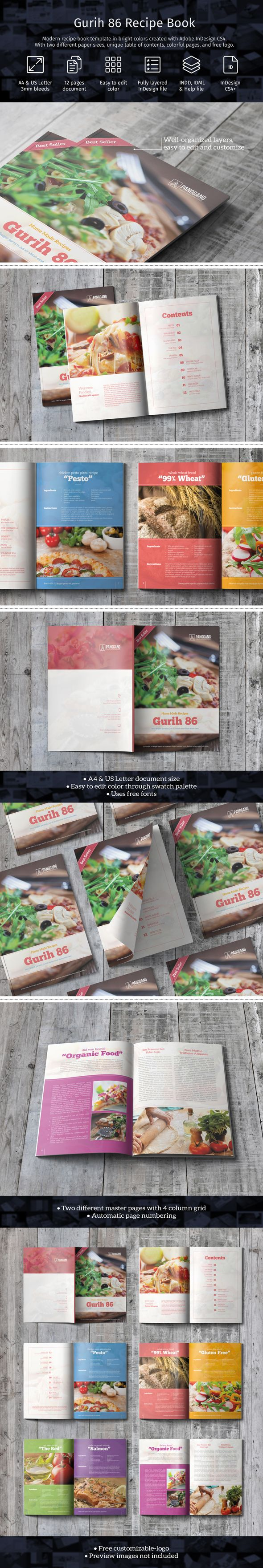 Color book in design - Modern Cookbook Template In Bright Colors Created With Adobe Indesign And Photoshop Cc This Essentials Template Comes With Character Paragraph Styles