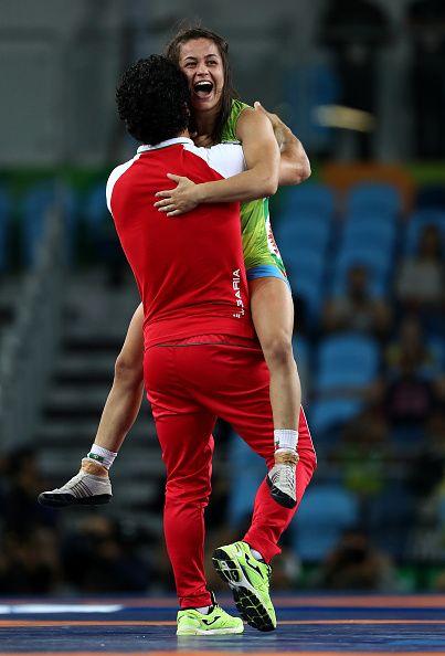 Elitsa Atanasova Yankova of Bulgaria celebrates winning bronze against Patricia…