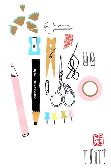 i've always liked little drawing of everyday items in this kind of style, with interesting but simple blocks and lines of color.  Amy Van Luijk, illustration, print, objects, collection, sewing, art, drawing, colour