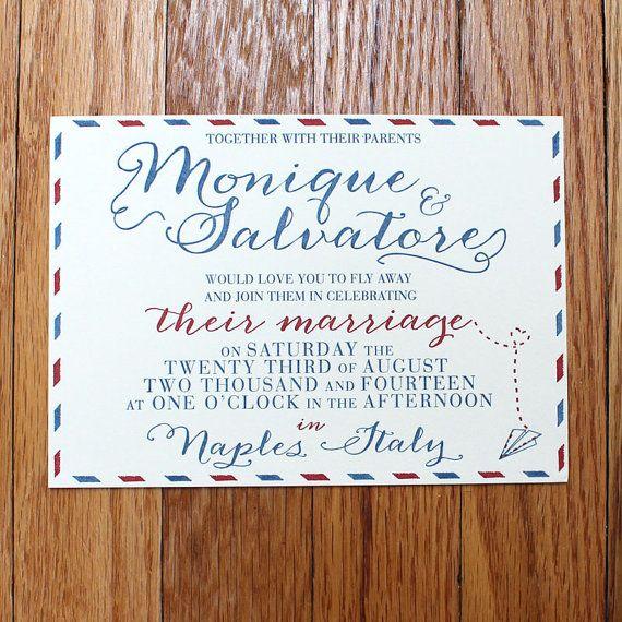 Vintage Air Mail Letterpress Wedding Invitation, Perfect for Destination Weddings by RustBeltPress, $5.00  www.rustbeltlove.com