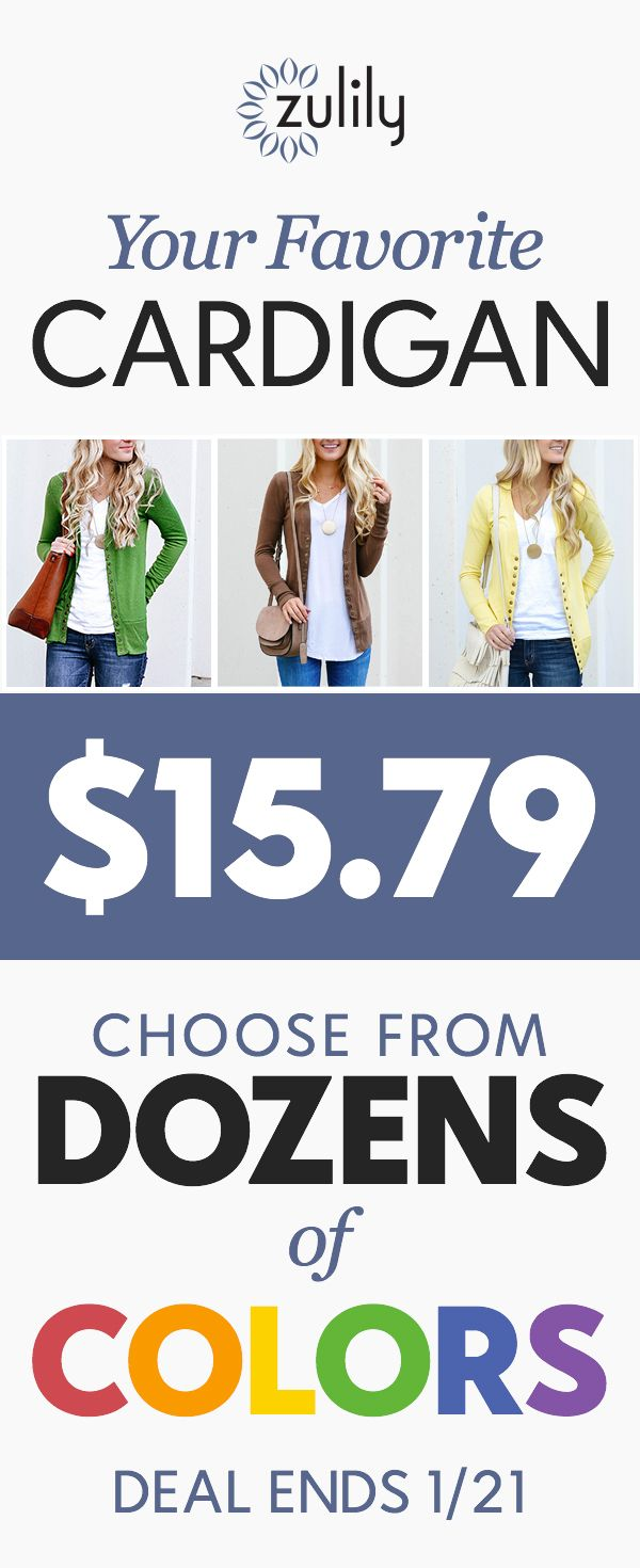 Sign up to shop $15.79 cardigans in black, navy, white, pink, coral, and more colorful favorites.Trend-savvy brand So Perla specializes in crafting casual essentials for your modern lifestyle. Treat yourself to serious style with their snap-button cardigans. Deal ends 1/21/18.