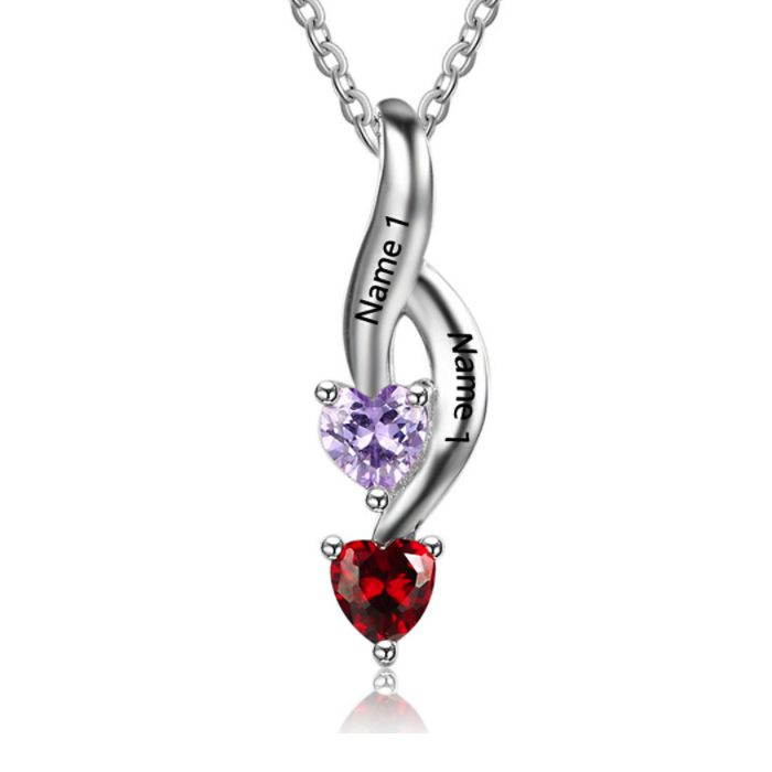 Post Included Aus Wide and to most international countries! >>>  Swirling Love Double Birthstone Hearts & Name Necklace - 925 Sterling Silver