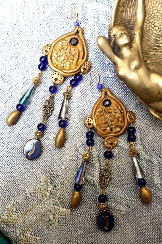 Boucles d'oreilles byzantines longues bleu par MesOdalisques
