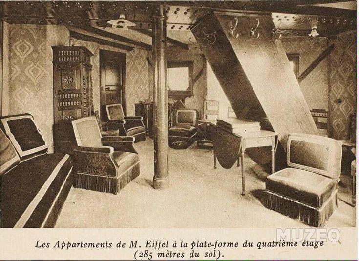 L'appartement de M. Eiffel au 4e étage de la Tour Eiffel vers 1910 ! #tourisme #Paris #histoire