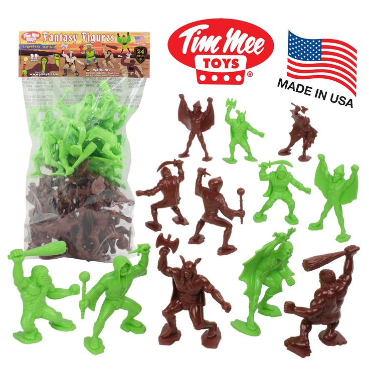 TimMee Legendary BATTLE Fantasy Figures: 24pc 70mm Set - Made in USA. TimMee Plastic Toy Fantasy Figures. Colors: 12 Rust Brown and 12 Bright Green Pieces. Size: Figures stand up to 3.1 inches tall (80mm). Scale: Approximately 1:24. Packaging: Polybag with Header Card.