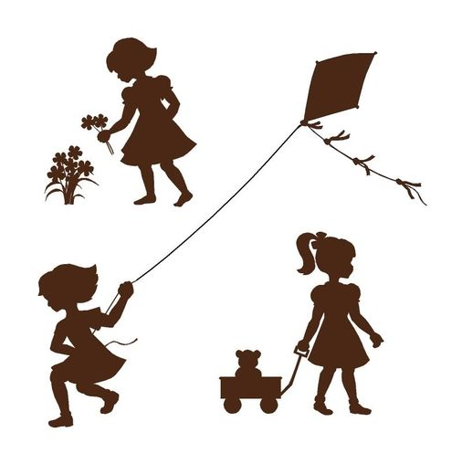 Silhouette Girls Wall Mural Get all three delightful silhouettes on one panel in this paint by number wall mural. Cut them apart an put them around the room. Put them above a chair rail or leave them