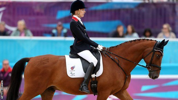 Dressage star Sophie Christiansen became the first Briton to win three golds at the London Paralympics.  The 24-year-old, riding Janeiro 6, posted a huge score of 84.750% to take victory in the freestyle dressage Grade 1a test ahead of Laurentia Tan of Singapore and Ireland's Helen Kearney.  Earlier, Sophie Wells and Deb Criddle both won silver medals.  The trio took GB's equestrian haul to 11 medals, beating the record of 10 set in Beijing in 2008.