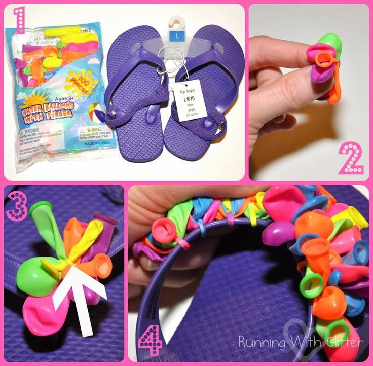 Running With Glitter: Water Balloon flip flops - doing this with the girls the morning after J's sleepover party!