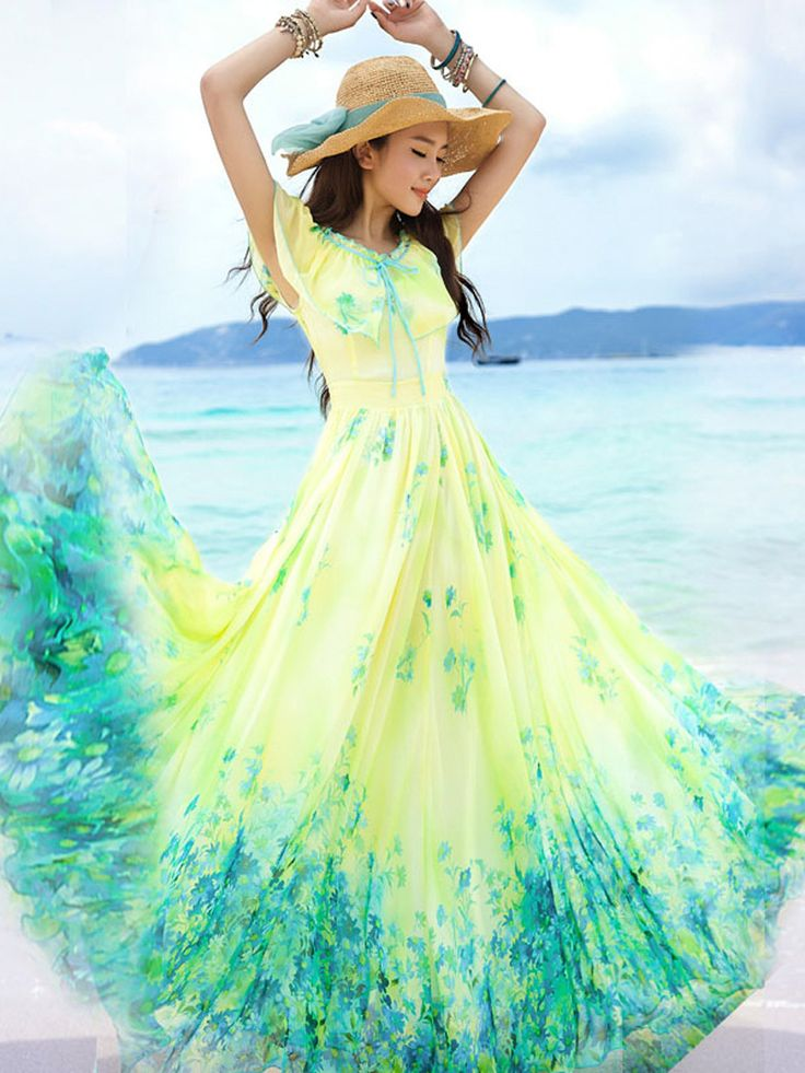 Buy Yellow Ruffle Floral Print Maxi Dress from abaday.com, FREE shipping Worldwide - Fashion Clothing, Latest Street Fashion At Abaday.com