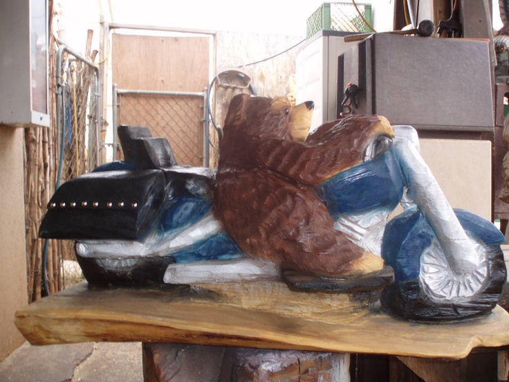 Chainsaw carving harley bear going back to colorado
