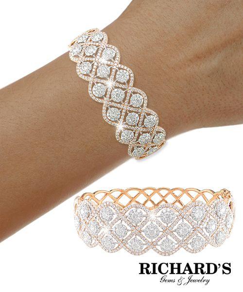Diamond weave bangle in 18k rose gold
