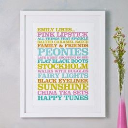 Personalised 'Likes' Poster Print - By Rosie Robins