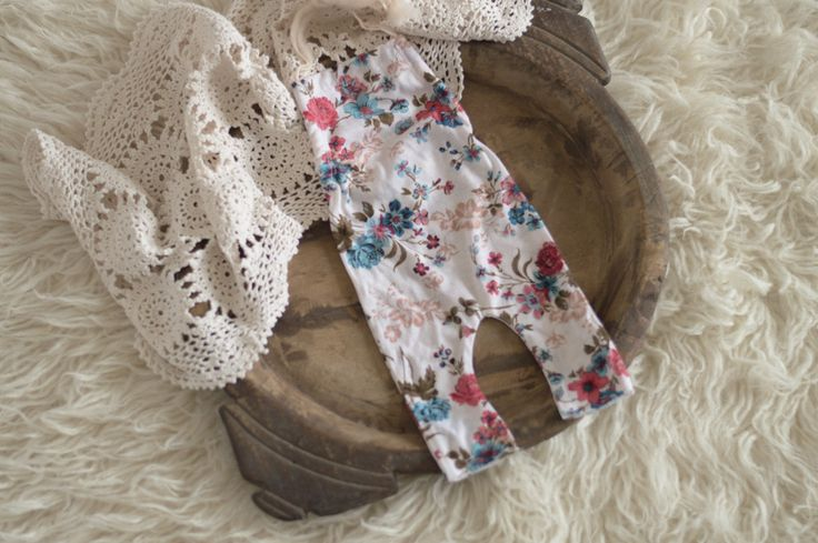 Turquoise and brown Floral newborn romper, newborn girl photography prop