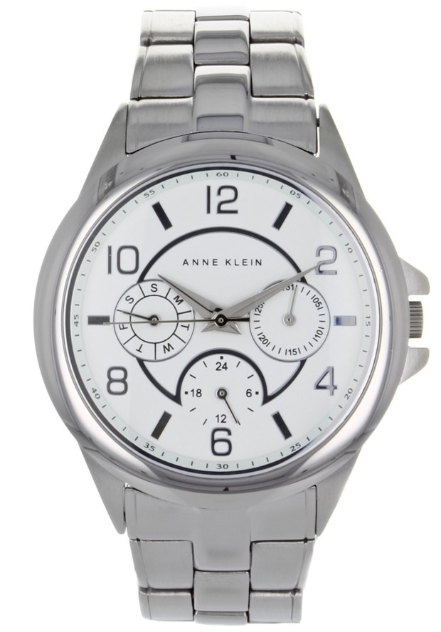 Price:$71.38 #watches Anne Klein AK-1027WTSV, Stainless steel case, Stainless steel bracelet, White dial, Quartz movement, Scratch-resistant mineral, Water resistant up to 3 ATM - 30 meters - 100 feet