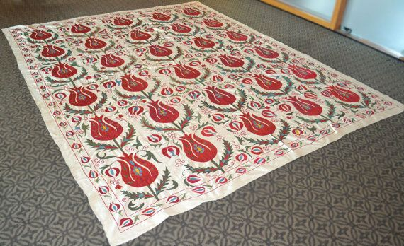 Handmade RED Tulip Suzani Bedspread / Table Cover - Wall Hanging - Vintage Suzani Fabric, Suzani Blanket - BIG Size (315 cm x 255 cm) Xlarge