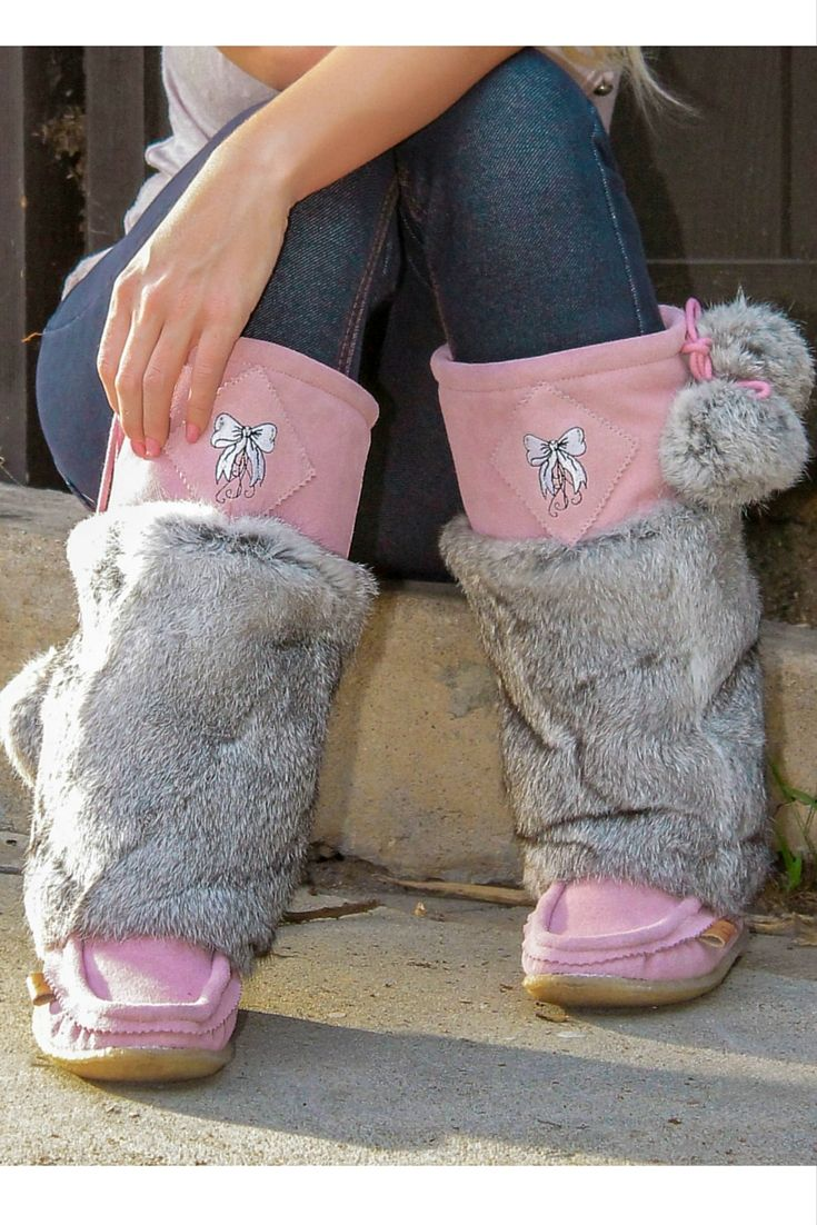 Jaw-dropping boots. Limited Edition pink mukluks made of rabbit fur and suede with a crepe sole to keep you warm and comfortable.