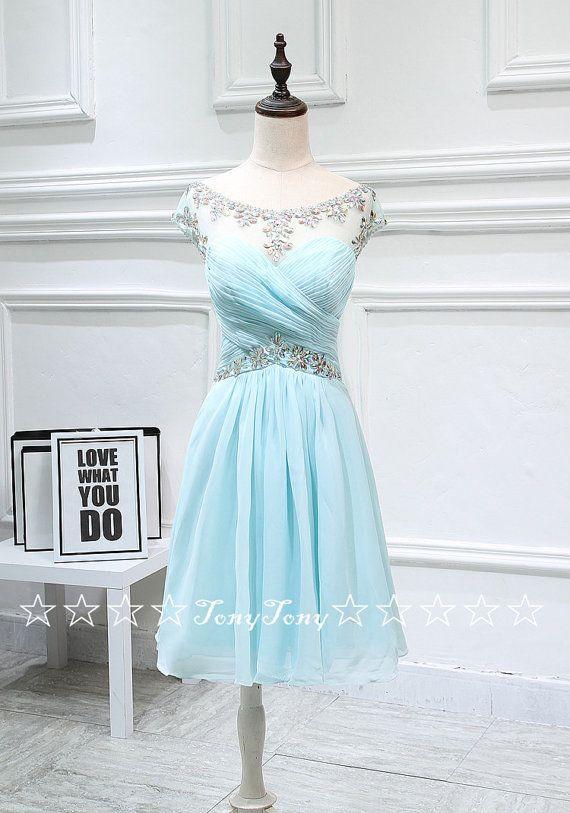 Chiffon Homecoming Dresses with Cap Sleeves,Short Prom Dresses,Elegant Sweet 16…