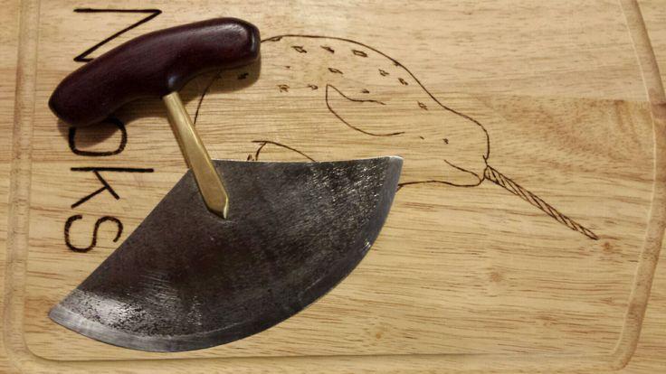 Ulu (Inuit women's knife) brass rod, steel blade and wooden handle