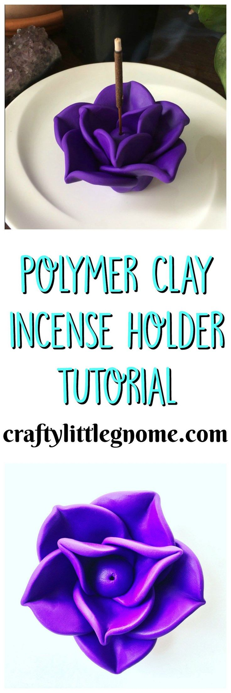 Make this cute flower clay incense holder with purple polymer clay. Form petals around a small clay ball and bake it in the oven to harden.