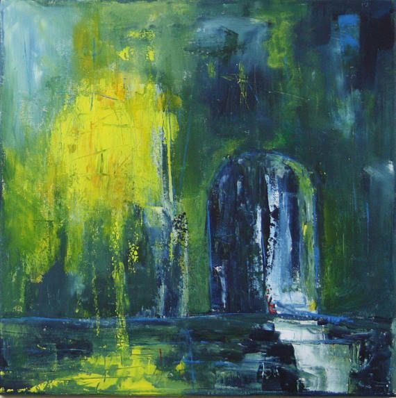 night shelter painting abstract acrylic green red blue