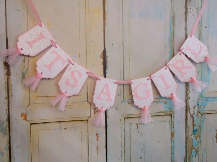 It's A Girl Banner, Pink and White Embossed Banner with Tulle, Baby Shower Banner, Baby Girl Shower Decoration, by PaperEtcStudio on Etsy